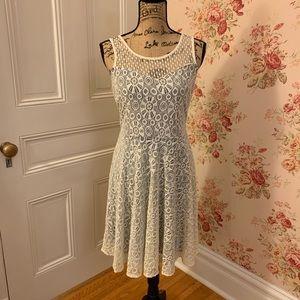 Doe & Rae Blue and White Lace Dress